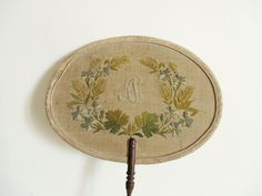 Antique french fan x cm x cm) Wooden handle : Embroidered fabric (I think its silk), Wood Handmade embroideries and monogramme Vintage condition, used, rare and still beautiful Shipping and tracking number Embroidery Fabric, Old Paper, Mid Century Design, Wooden Handles, French Vintage, French Antiques, Vintage Sewing, Decorative Plates, Handmade Items