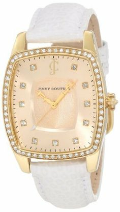 Juicy Couture Women's 1900978 Beau White Leather Strap Watch Juicy Couture. $250.00. Water-resistant to 30 M (99 feet). Japanese quartz movemet. White exotic embossed leather strap. 32x44 mm gold plated stainless steel tonneau-shaped case. Swarovski crystal set bezel and markers