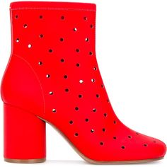 Maison Margiela Socks perforated ankle boots ($985) ❤ liked on Polyvore featuring shoes, boots, ankle booties, red, ankle boots, red leather booties, leather ankle booties, bootie boots and red boots