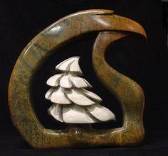 "Eagle & Cypress, Paul Vacirca. Brazillian Soapstone. Measuring 12"" x 13"" x 4"". First Nations Art."