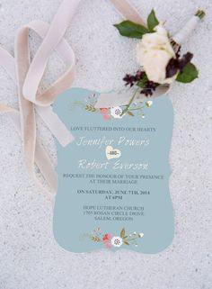 dusty blue and pink bracket shaped shabby chic rustic wedding invitations