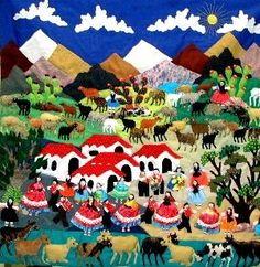 An arpillera depicting a village fiesta