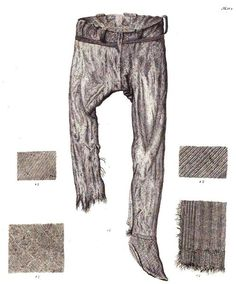Drawing of Thorsberg trousers & textile patterns. From Conrad Engelhardt, Denmark in the Early Iron Age