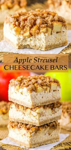These Apple Streusel Cheesecake Bars are a delightful fall dessert. They have a buttery shortbread crust, creamy cheesecake filling and are topped with cinnamon apples and a cinnamon streusel! A delicious fall dessert and super simple way to enjoy cheesecake and apples together! Apple Recipes Easy, Bar Recipes, Pumpkin Recipes, Dessert Recipes, Apple Desserts, Fall Desserts, Delicious Desserts, Cheesecake Bars, Cheesecake Recipes