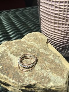 Let Them Eat Cake, Trio Set of Sterling Silver and Rose Gold Filled Stacking Rings, size 7