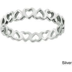 Eternally Haute Heart to Heart Sterling Silver Eternity Ring (Silver-... ($18) ❤ liked on Polyvore featuring jewelry, rings, silver, sterling silver heart charm, eternity ring, eternity band ring, silver rings and stackable rings