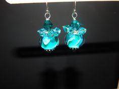 Teal Cluster Lampwork Earrings by LisasOriginals on Etsy