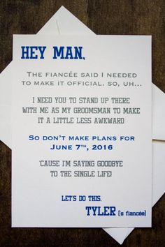 Groomsman Wedding Invite Card - Will you be my Groomsman? Funny