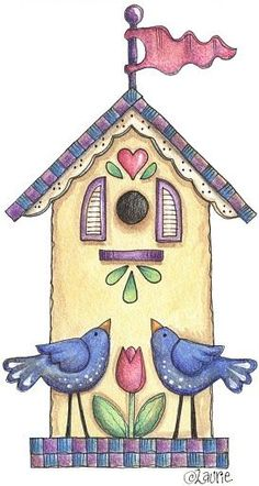 Laurie Furnell px - 33 Kb) Home Sweet Home Arte Country, Decoupage, Wal Art, Bird Houses Painted, Clip Art, Cute Clipart, Country Paintings, Tole Painting, Whimsical Art