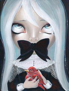 "Pop Surrealism Art | Fantasy Lowbrow Pop Surrealism Big Eye Art ""Secrets"" Emo Doll Bird ..."