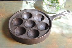 Vintage Griswold DUTCH Aebleskiver Cast Iron Pop OVer Muffin Pan Pancake puff Maker