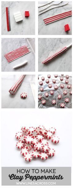 Lines Across: Polymer Clay Peppermint Candies. Could be great for making Christmas garlands and ornaments.