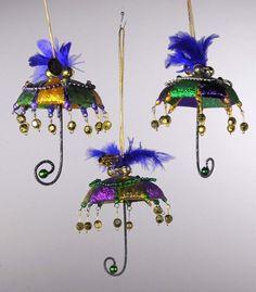 Katherine's Collection Set Of Twelve Fat Tuesday Mardi Gras Umbrella Ornaments