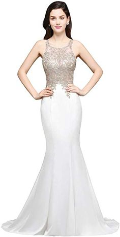 ee697722237 Amazon.com  Womens Beaded Lace Applique Mermaid Evening Prom Dresses Long  2018 Formal