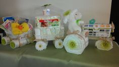 The perfect tractor diaper cake for a farm animal baby shower.