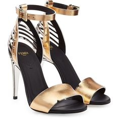 Fendi Metallic Leather Sandals ($365) ❤ liked on Polyvore featuring shoes, sandals, heels, fendi, gold, black strap sandals, strappy heeled sandals, black heeled sandals, black sandals and leather sandals