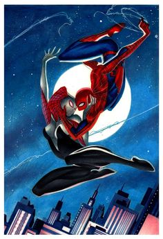 Spider-Man & Spider-Gwen by Thony Silas Spider Girl, Spiderman And Spider Gwen, Amazing Spiderman, Marvel Art, Marvel Dc Comics, Marvel Heroes, Comic Anime, Comic Art, Comic Book Characters