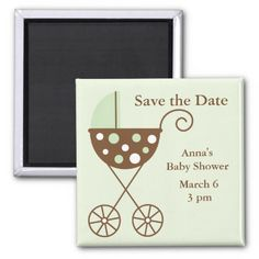 Green Stroller Baby Shower Save the Date Fridge Magnet