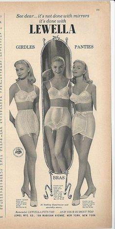 0f51a23cf 1956 LEWELLA Bras GIRDLES Panties Its NOT Done w Mirrors! Vintage Photo  Print Ad Vintage