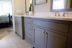 Gray cabinets in boys bath (with dark countertop?)