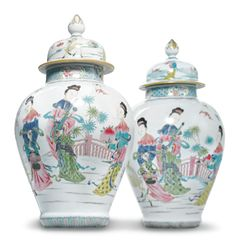 A pair of Chinese export porcelain famille-rose baluster jars and covers, Yongzheng period, circa 1730 Kitty Carlisle, The Imitation, The Secret World, Oriental Furniture, Chinese Ceramics, Dog Paintings, Pottery Bowls, China, Chinese Art