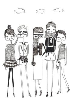 Fashion illustration, original Fashion Art, Fashion Drawing, quirky girls, Black and white art Art And Illustration, Black And White Illustration, Portrait Illustration, Quirky Girl, Arte Sketchbook, Doodle Art, Art Girl, Illustrators, Character Design