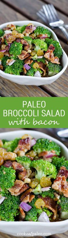 Paleo broccoli salad with bacon is a perfect side dish for a summer barbecue. It's gluten-free, grain-free and dairy-free. Comida Kosher, Paleo Recipes, Real Food Recipes, Grain Free, Dairy Free, Gluten Free, Broccoli Salad Bacon, Bacon Salad, Crab Salad