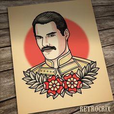 c6f60a769f626e Freddie Mercury print. Queen. Portrait Tattoo. Flash tattoo. Old school  tattoo. Neo traditional tattoo