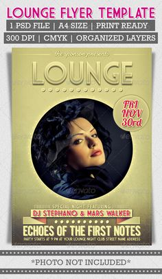 Lounge Flyer Template — Photoshop PSD #retro #drink • Available here → https://graphicriver.net/item/lounge-flyer-template/3205087?ref=pxcr
