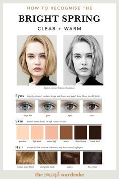 If you have just discovered that you are a Bright Spring in the seasonal colour analysis, find out which colours look best on you. Bright Spring, Clear Spring, Spring Color Palette, Spring Colors, Light Spring Palette, Color Palettes, Eye Color, Hair Color, Winter Typ