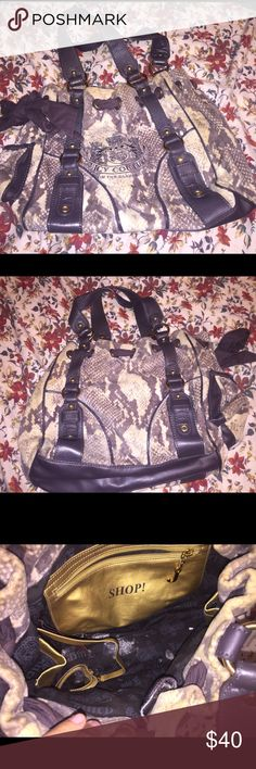 Loved Juicy Couture purse Used juicy couture purse. Used it a lot when I first got it then it got buried in the bottom of my closet. Because of that it has yellowed, especially on the top which you can see in the pictures. However it's not too noticeable since the bag is kind of beige and brown. Also has some marks on the inside. I have not tried to clean it so I'm not sure if it would come out. Price reflects that. Juicy Couture Bags
