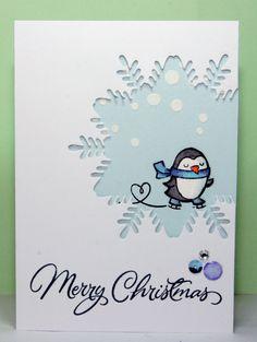 Lawn Fawn winter penguin. Hero arts classic christmas borders, heidi swapp stencil , Joy Crafts! ice crystal die