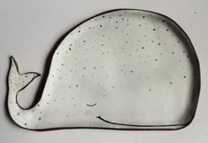 Cute whale - sleepy handmade ceramic plate, ring dish, soap dish, spoon rest MADE TO ORDER Hand Built Pottery, Slab Pottery, Ceramic Pottery, Pottery Art, Thrown Pottery, Pottery Studio, Ceramic Plates, Ceramic Art, Beginner Pottery