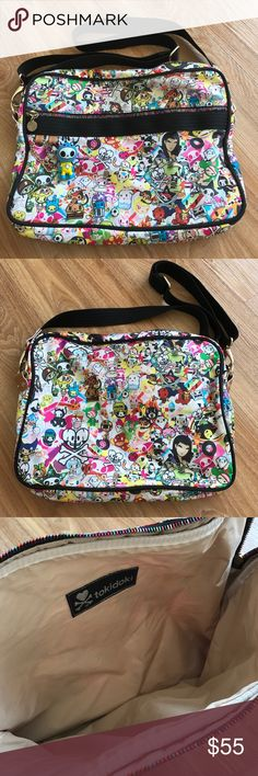 Tokidoki laptop bag EUC. Original authentic tokidoki laptop crossbody bag. Inside is clean, no stains or signs of wear. Outside has some small stains here and there. I used a magic eraser on some and they came right out but I am showing them just in case I missed some. The zippers and zipper pulls are all intact and working, shown in last picture because there is some calcification on them. tokidoki Bags Laptop Bags