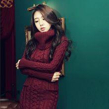 AliExpress.com Product - 2016   Winter Women Sweater Dress Korean High-Necked Long Slim Twist Thick Knitted Sweater Dress Bottoming Women Wi...