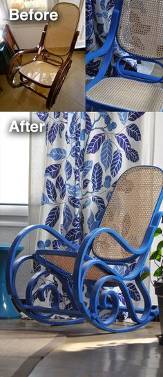 Read more about rental decor link Check the webpage for more info Bentwood Rocker, Bentwood Chairs, Wicker Chairs, Painted Rocking Chairs, Wicker Rocking Chair, Refurbished Furniture, Repurposed Furniture, Cool Furniture, Pouf Chair