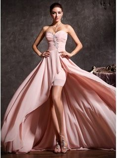 A-Line/Princess Sweetheart Asymmetrical Chiffon Prom Dress With Ruffle Beading