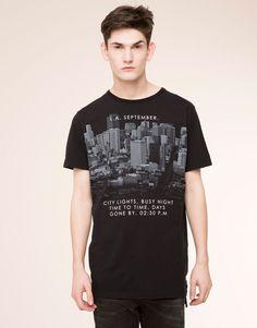 Pull&Bear - homme - t-shirts - t-shirt print manches courtes - noir - 05239506-V2016