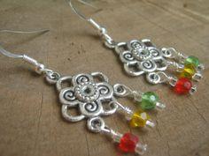 Rasta Flower Earrings Chandelier Dangle with by Abundantearthworks, $12.00
