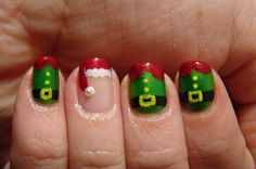 I am unveiling Santa belt nail art designs, ideas & stickers of these Xmas nails are very cute, I am sure you will love them all. Make Santa belts with red, green, white and glitters to make it look real and stunning. Creative Nail Designs, Cute Nail Designs, Creative Nails, Christmas Nail Art Designs, Holiday Nail Art, Christmas Design, Xmas Nails, Christmas Nails, Merry Christmas
