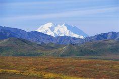 USA, Alaska, Denali National Park, Wonder Lake, with snow-covered Mount McKinley visible as backdrop