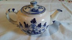 Delft Blue and Cream Dutch Ceramic Teapot with Matching Lid by TheWhimsicalDust on Etsy