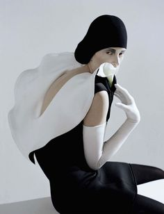 """Black And Roses"" : Kristen McMenamy : Vogue Italia October 2012 : Tim Walker"