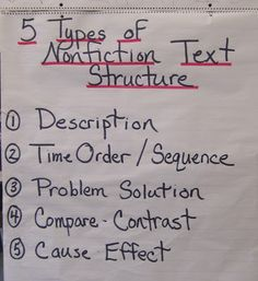 5 Types of Nonfiction Text Structure