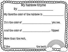 Teaching With Love and Laughter: My Rainbow Rhyme Freebie