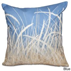 E by Design Sea Grass 1 Floral Print 16-inch Throw Pillow
