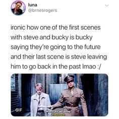 Ironic how one of the first scenes with steve and bucky is bucky saying they're going to the future and their last scene is steve leaving him to go back in the - iFunny :) Marvel Jokes, Avengers Memes, Marvel Funny, Marvel Dc Comics, Marvel Avengers, Bucky And Steve, Stucky, Bucky Barnes, Guardians Of The Galaxy