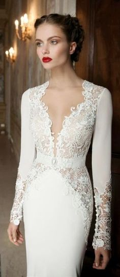 Lovely lace neckline. Wedding dresses  http://www.pinterest.com/JessicaMpins/