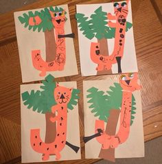 J is for Jumping Jaguars in the Jungle! Great letter craft for preschoolers learning the alphabet. Alphabet Letter Crafts, Abc Crafts, Preschool Letters, Letter Activities, Preschool Themes, Preschool Activities, Rainforest Activities, Animal Alphabet, Jungle Crafts