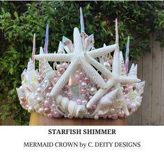 Pink Mermaid Crown, Festival Crown, Beach Bride Shell Crown ~ STARFISH SHIMMER  #mermaidcrown